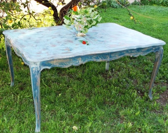 Vintage French Provincial Dining Table Painted Color of Your Choice.Distressed, Farmhouse,Rustic,Shabby,Blue,Yellow,Chippy