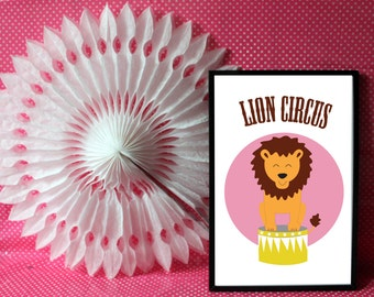 """A4 poster / children Illustration """"Lion circus"""" circus Collection"""