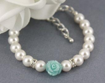 Flower Girl Bracelet, White Pearl and Flower Bracelet, Swarovski Bracelet, Flower Girl Gifts, Flower Bracelet, Pale Blue Flower