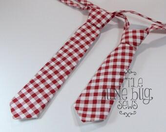 Baby Boy Necktie, Little Boy Necktie, Red Check Neckties, Gameday Necktie, Alabama Necktie