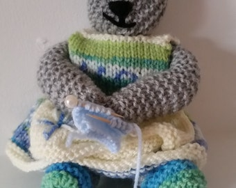 Hand knitted 'Gran Bear' with knitting