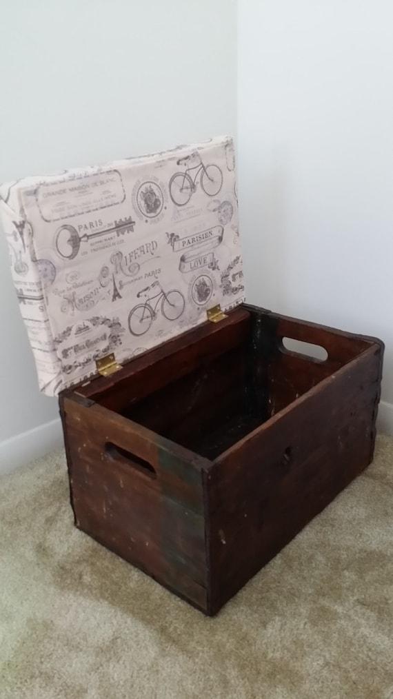 Vintage wood crate ottoman