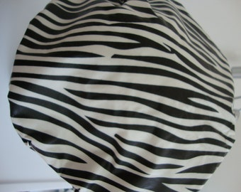 Black and White Zebra Queen Classic Shower Cap. Mold Resistant. Cotton lined. One Adult Size.