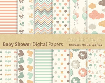 """Baby Shower Digital Papers. """"BABY SHOWER"""". Birthday Patterns. Scrapbook Paper. 12 images, 300 Dpi. Jpg files. Instant Download."""