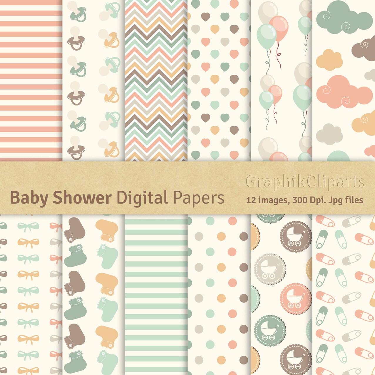 Scrapbook paper baby - Baby Shower Digital Papers Baby Shower Birthday Patterns Scrapbook Paper 12 Images 300 Dpi Jpg Files Instant Download