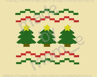 Faux Smock Christmas Tree Embroidery