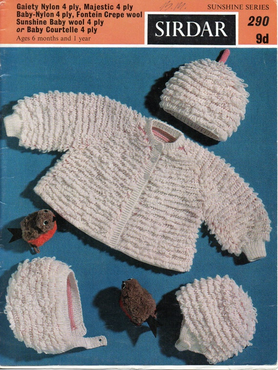 Baby Knitting Pattern baby loop stitch coat hat helmet by Minihobo