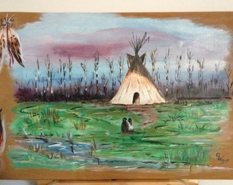 """painting on leather - original - """"In Grassland"""""""
