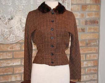 Vintage 1960's Brown & Black Plaid Tweed Jacket w/ Fur Collar