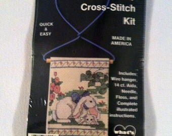 French Country Cross-Stitch Kit of a Momma Bunny & Baby