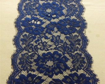 "9ft navy Table runner, 10""  ,lace table runner,  wedding  table runners,  navy lace runner, R14110703"