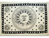 Sun & Moon Tapestry, Indian Decorative Picnic Blanket, Hippie Bohemian Wall Decor, Twin Size Wall Hanging, Indie Tapestries TP617N