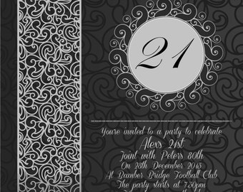 10 | Black & Silver/Grey Modern Swirl | Party Invitations