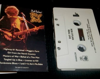 BOB DYLAN LIVE Cassette Tape Vintage Folk Music Legend Tombstone Blues, Highway 61, Maggies Farm, Masters Of War
