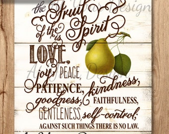 "The Fruit of the Spirit Galatians 5 v 22-23  vintage boards size -- 8""x10"" and additional file with bleed"