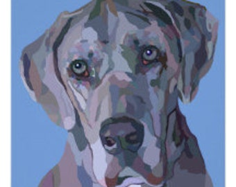 Great Dane Dog Breed Blue Great Dane Merle Great Dane Pet Portrait Painting Signed Art Print