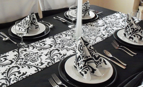 White and black damask table runners
