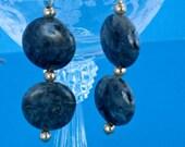 Labradorite Gemstone Earrings Blue Earrings Green Earrings Gold