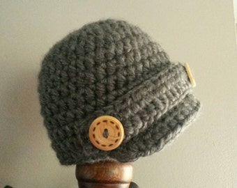 Crochet Newborn Newsboy Baby Cap Hat Photo Prop