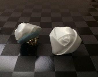 Mini white rose lapel pins