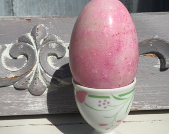 Pink Marble Egg with porcelain  Egg Stand