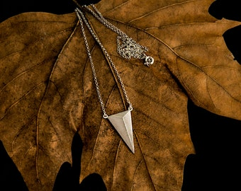 3d Triangle Necklace, 3d Chevron Necklace, 925 Sterling Silver, Arrowhead