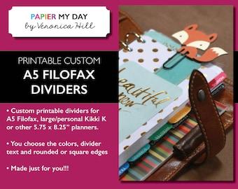 Printable Custom A5 Filofax Dividers - Custom Dividers for A5 Filofax or Kikki K