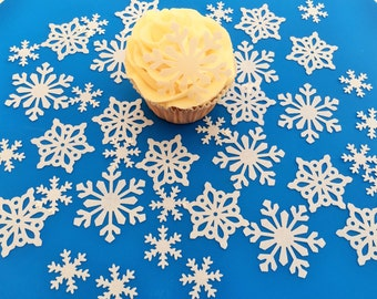 38 Edible White Wafer Snowflake Collection Cupcake Toppers