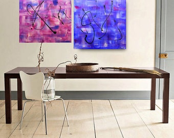 Abstract Painting Contemporary Blue- Violet Colorful  Oil painting Landscape painting Acrylic painting Surreal Heavy Texture Rustic