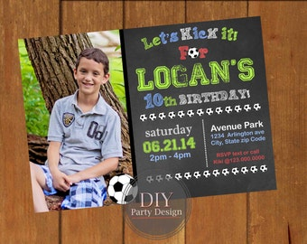 Soccer Birthday Invitation * Digital Party Invitation * You Print