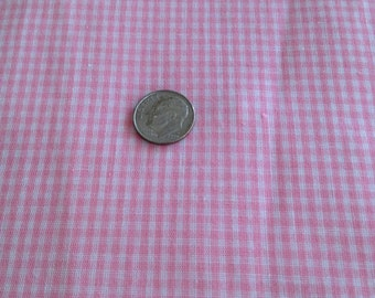 "Vintage Gingham Pink White Cotton Frabic 28"" Long x 46"" Wide 1970's"