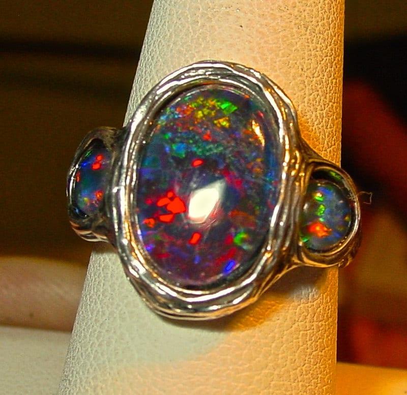 Vivid Color Genuine Australian Opal ring by AmyKJewels