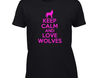 Keep Calm And Love Wolves T-Shirt Funny Wolf Lover Mens Womens Youth Kids Big And & Tall