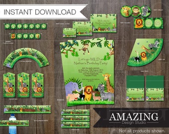 Jungle Birthday Party Invitation Kit: Instant Download Editable Printable Banners, Cupcake Wrapper, Favor Tags, Bottle Wraps Zoo Decorations