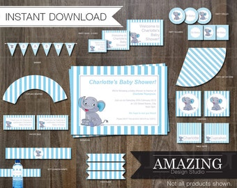 Boys Blue Baby Shower Editable Printable Kit: Instant Download. Stripe Elephant Invitations, Banners, Cupcake Wrappers  & Decorations