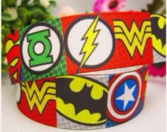"1"" super heroes ribbon"
