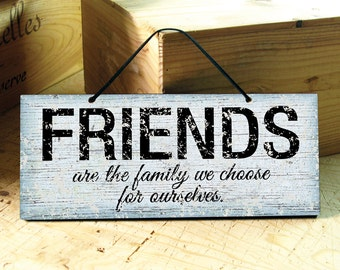 Wall Sign in Blue & Black with Friends Saying. Friendship Sign. Positive Sign. Modern. Rustic. Custom Sign. Birthday Gift. Ready to Ship