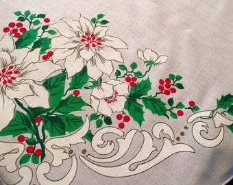 Beautiful Large Vintage Christmas Tablecloth, Poinsettias and Holly, Christmas linens, Mid Century, Excellent vintage condition.