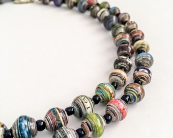 Paper Beads Necklace. Pearl Shaped Paper Beads. Paper Jewelry. Long necklace. Recycled, Repurposed Eco Jewelry.
