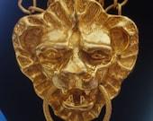 "4"" x 3"" MASSIVE Vintage HATTIE CARNEGIE Lion Head Doorknocker Extra Big Statement Gold-Plated Pendant Double Chain Necklace Rare Figural"