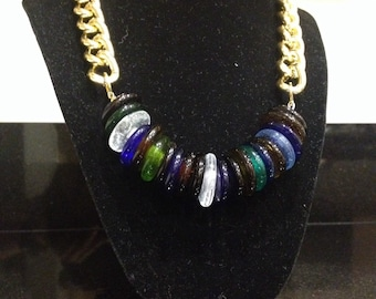 Glass and Gold Chain Necklace