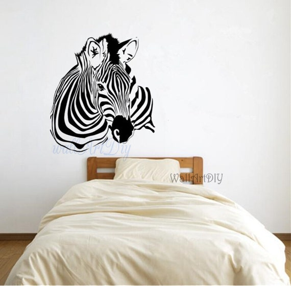 zebra wand aufkleber zebra wand wandbild tier wand von. Black Bedroom Furniture Sets. Home Design Ideas