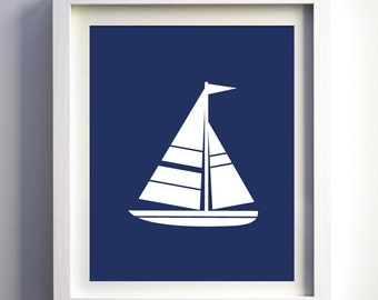 Nautical Art Print, Navy and White Boys Wall Art, Sail Boat Print, Nautical Baby Boy Nursery Wall Art, Anchor Art Print, Sailboat Art