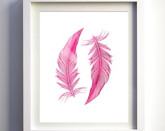 Hot pink Magenta Pink Feathers print instant download baby girls hot pink nursery wall art decor printable feather instant download print