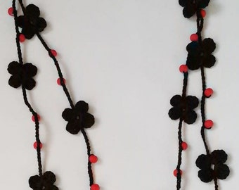 Handmade necklace, necklace,crochet necklace, necklace flowers and beads, crochet jewelry, crochet