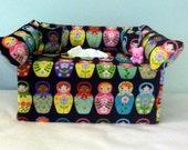 """Mini couch """"Russian Dolls"""" tissue box cover #89"""