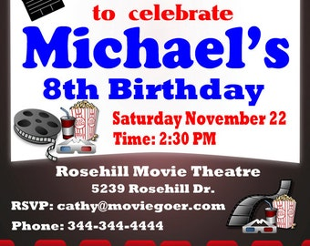 Movie Party Birthday Invitation Personalized DIY Printable Movie Invite Cinema Invitation