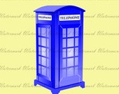 60% OFF SALE Tardis Dr Who Graphic KP326-Blue Telephone Box - Printable clipart Digital image Fabric Transfer Art Scrapbooking Instant Downl