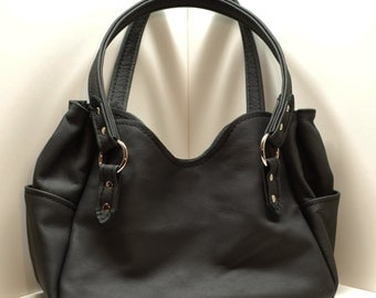 Womans Custom Handmade Black Leather Purse / Handbag