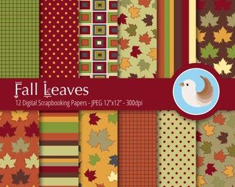 Fall Digital Paper - Autumn Digital Paper - Fall Leaves - Thanksgiving Digital Paper - Set of 12 Digital Scrapbooking Papers